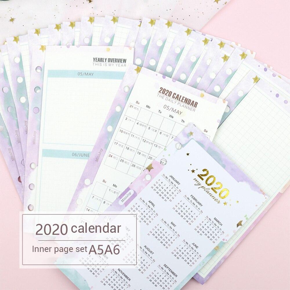 23 Sheets 2020 Calendar Three Fold Inner Page Handbook Calendar Monthly Plan Loose-leaf Refill A5 A6 Agenda Office Supplies