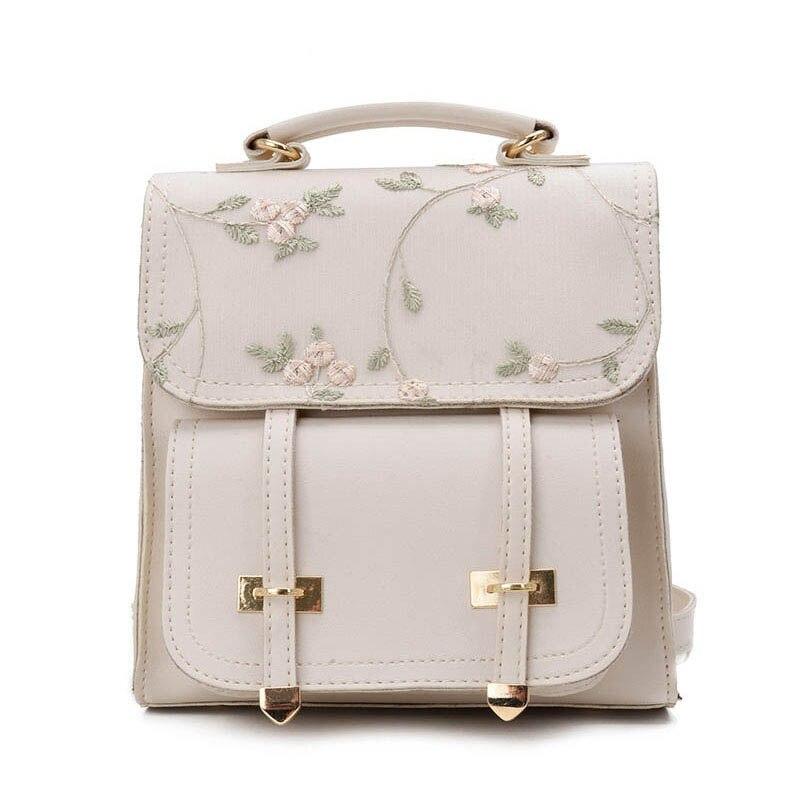2019 School Backpack Teenage Girls High Quality Leather Women Shoulder Bag Backpack Floral Embroidery Design Rucksack