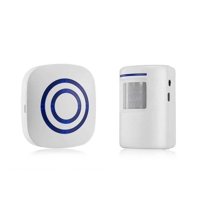 Door Chime,Wireless Business Door Motion Sensor Detector Smart Visitor Doorbell Home Security Driveway Alarm With 1 Plug-in Rece