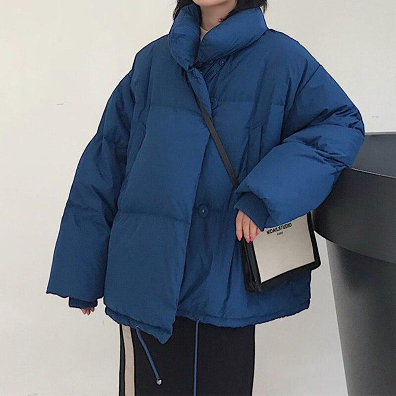 DAPHLIAC Jacket Woman Winter 2019 Fashion Warm Stand Down   Parka   Mujer Coat Casual Pocket Jacket Women Megofce Plus Size Overcoat