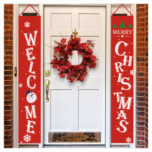 New 2Pcs/Lot Merry Christmas Porch Sign Decorative Door Banner Decoration for Home Hanging Ornaments