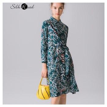 Silviye Belt style waist collection print authentic floral silk dress mulberry silk high waist medium long long sleeve dress empire waist tartan print slip dress