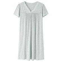 코 튼 새로운 긴 셔츠 Homedress 밤 착용 밤 가운 패션 여성 짧은 소매 우아한 V 목 녹색 Nighties 여성 Viscose