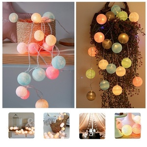 2.2M 20 LED Cotton Ball String Lights Christmas Wedding Holiday Garland Fairy Lighting Strings Outdoor Xmas Party Decorations