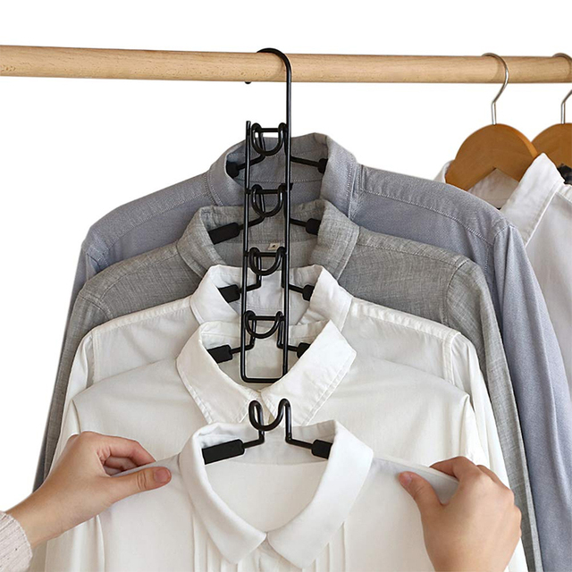 Multi layers Clothes Hanger 5 in 1 Detachable Pants Holder Wardrobe Anti Slip Sponge T Shirt Jeans Rack Space Saving Organizer