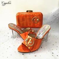 High class wedding/party set matching high heel shoes and handbag set ASB4 orange,Heel Height 10CM