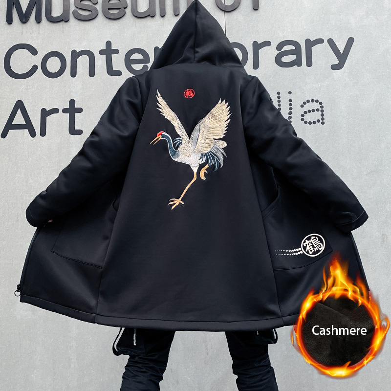 Embroidery Chinese Characters Cranes Thick Hoodies Pullover Hooded Sweatshirts 2019 Autumn Winter Harajuku Casual Streetwear