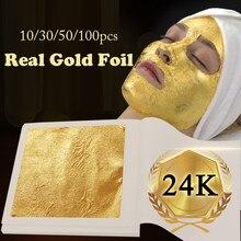 Folha de ouro comestível 24 k puro genuíno papel dourado folha de ouro real 4.33x4.33cm decoração do alimento máscara facial artes artesanato decoração do bolo comestível