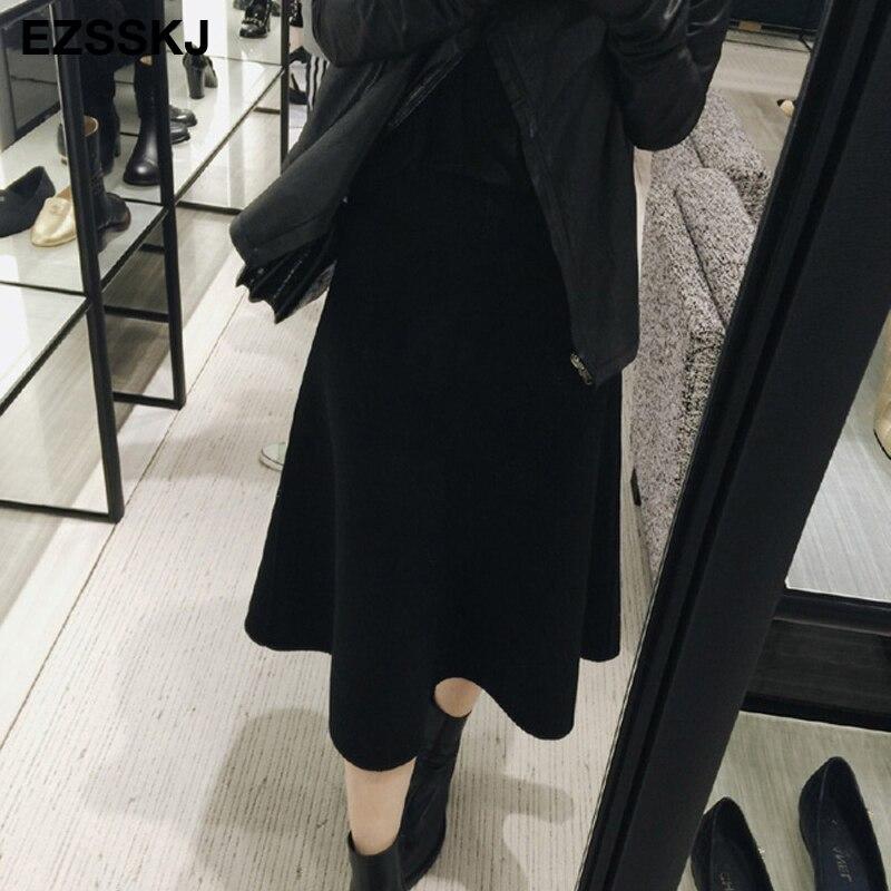 Image 4 - 빈티지 가을 겨울 여성 두꺼운 스웨터 우산 치마 높은 허리 미디 니트 스커트 라인 여성 솔리드 우아한 스커트스커트   -