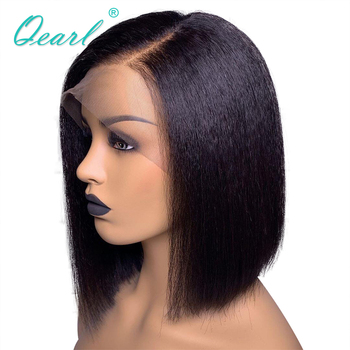Short Bob Lace Front Human Hair Wigs For Women Yaki Straight Side Parting 13x4/13x6 Brazilian Remy Hair Pre-plucked Wig Qearl medium side parting straight bob synthetic wig