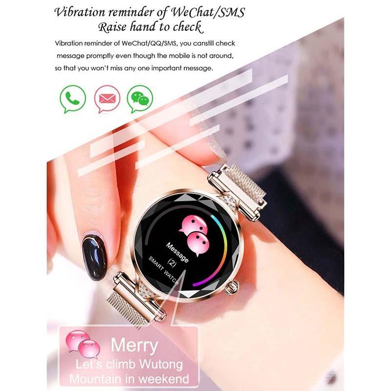 H218c2a65323b41abaab1879f31098603n 2021 Fashion Smart Watch Women IP68 waterproof Multi-sports modes Pedometer Heart Rate smartwatch Fitness Bracelet for Lady Gift