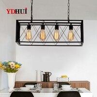 Moderne noir cage à oiseaux pendentif lumières fer boîte rétro lumière loft cage en métal suspension lampe d'éclairage|Lampes à suspension| |  -