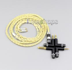 4 in 1 Plug 8 Cores Extremely Soft 7N OCC Pure Silver + Gold Plated Earphone Cable For AKG N5005 N30 N40 MMCX LN006218