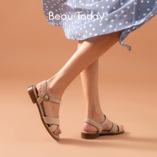 BeauToday Flat Sandals Women Kid Suede Genuine Leather Buckle Strap Gladiator Style Female Summer Casual Shoes Handmade 32206