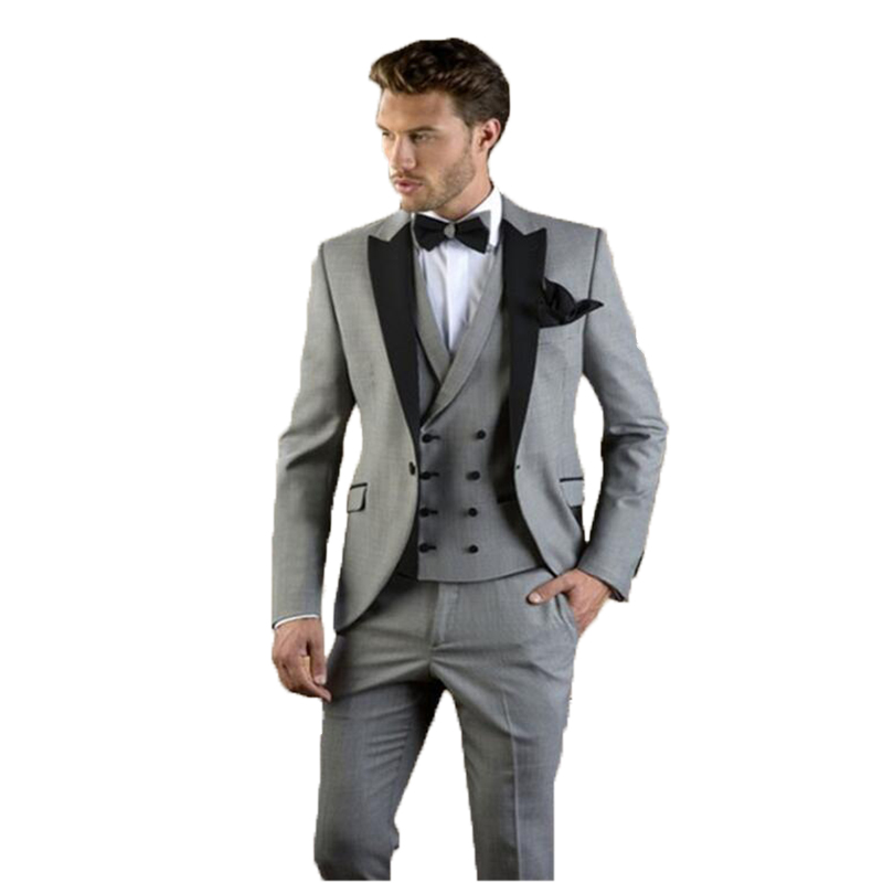 2020 Grey Men Suit Slim Fit Jacket With Black Tuxedo Custom Made Blazer Wedding Groom Suits Costume  (Jacket+Pants+Vest)