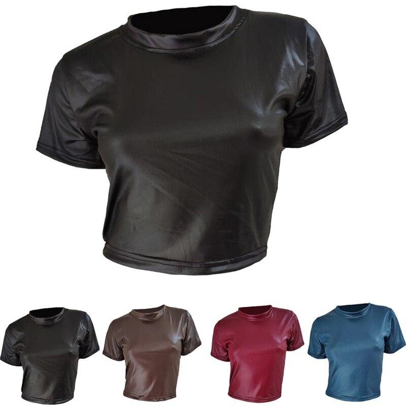 Женская футболка из искусственной кожи, укороченный топ с коротким рукавом, Сексуальная Панк футболка, Клубная одежда, женская рубашка