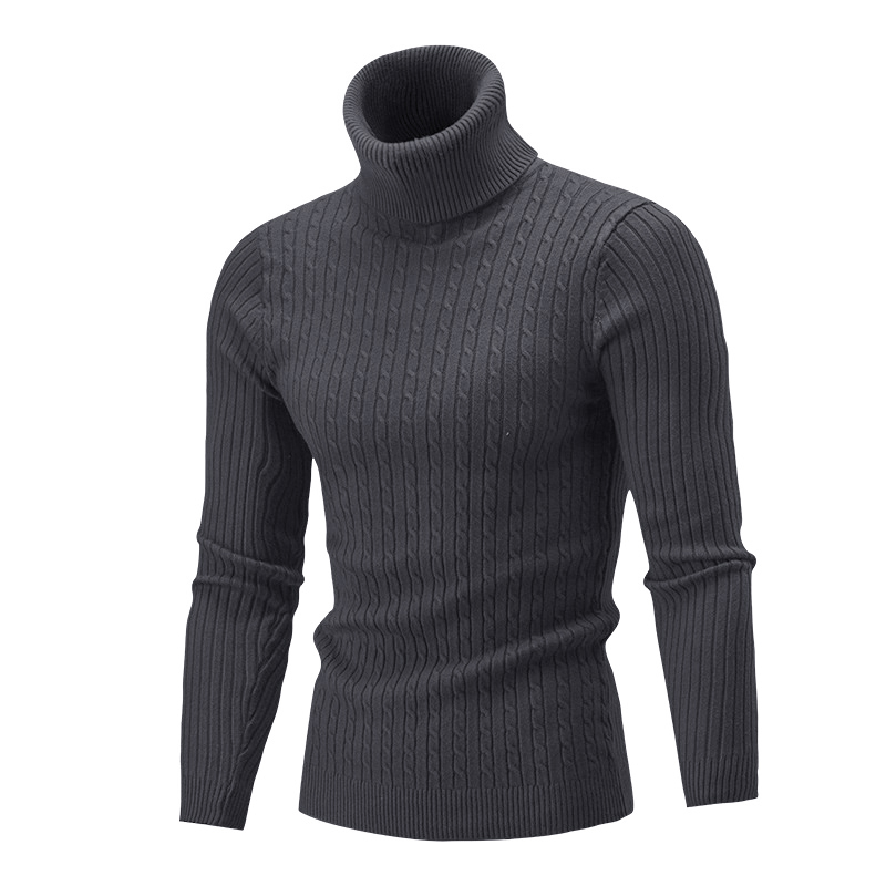 New Autumn Winter Men's Sweater Turtleneck Solid Color Casual Sweater Slim Fit Knitted Pullovers Tops High Neck Sweaters