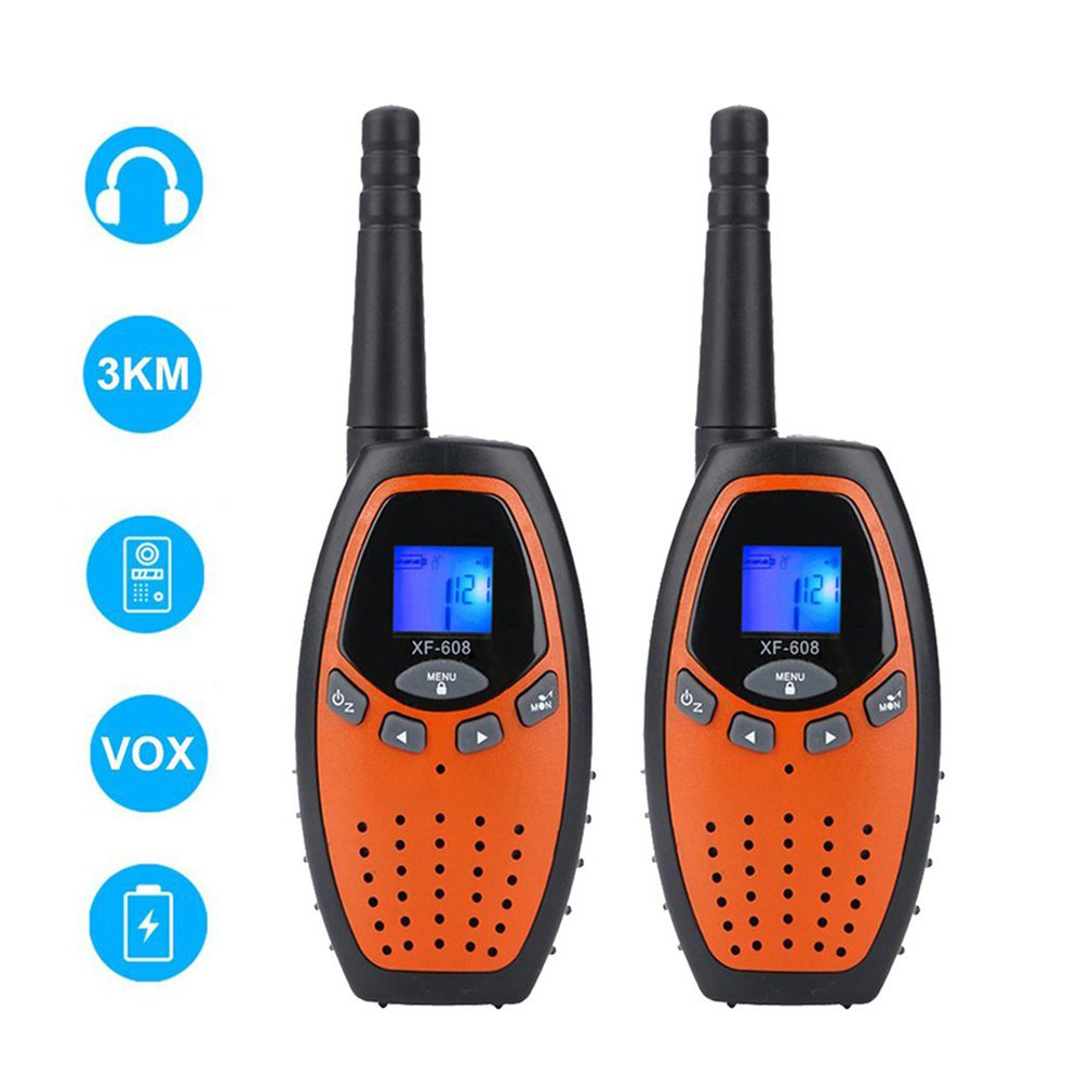 2pcs Mini 3-5km Kids Walkie Talkies Toy Child Electronic Radio Voice Interphone Toy Outdoor LCD Display Walkie Talkies Toy
