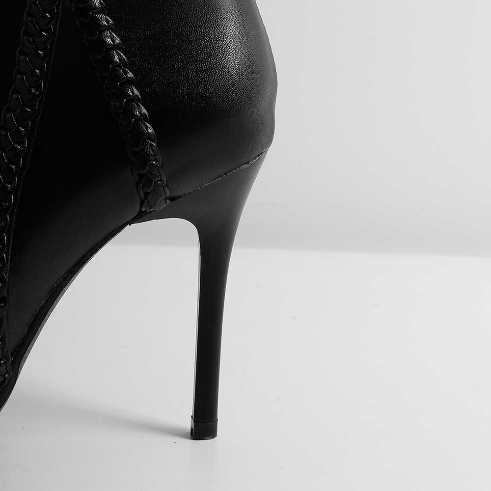 2019 Winter Brand New Sexy Wit Zwart Vrouwen Enkel Jurk Laarzen Hoge Dunne Hakken Dame Naakt Schoenen LA246 Plus Grote maat 11 43 46 48