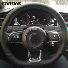 CARDAK DIY Black Artificial leather Car Steering Wheel Cover for Volkswagen Golf 7 GTI Golf R MK7 Polo GTI Scirocco 2015 2016 цена 2017