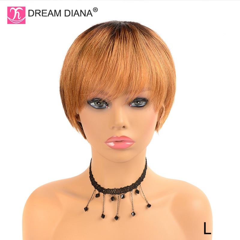 DreamDiana Short Straight Human Hair Wigs 1B 30 Ombre Human Hair Wig 8