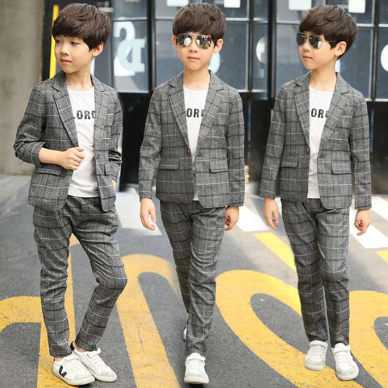 Suit For Boy Blazers Autumn Boys Suits Plaid Single Breasted Kids Boys Wedding Suit Wear Children Clothing Sets Pojan Vaatetus