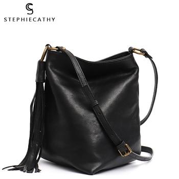 SC Design New Genuine Leather Messenger Bag Women Casual Shoulder Crossbody Retro Leather Tassel Triangle Bottom Female Handbags