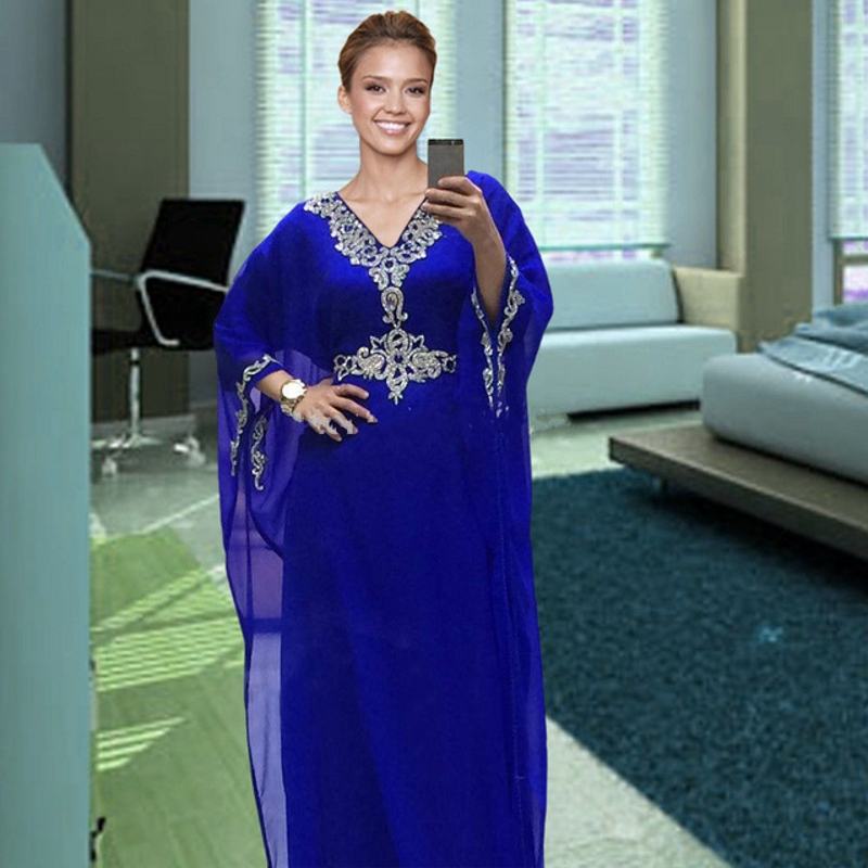 2018 Royal Blue Dubai Long Robe De Soiree Muslim Evening Gown Kaftan Chiffon Beaded Arabic Formal Mother Of The Bride Dresses