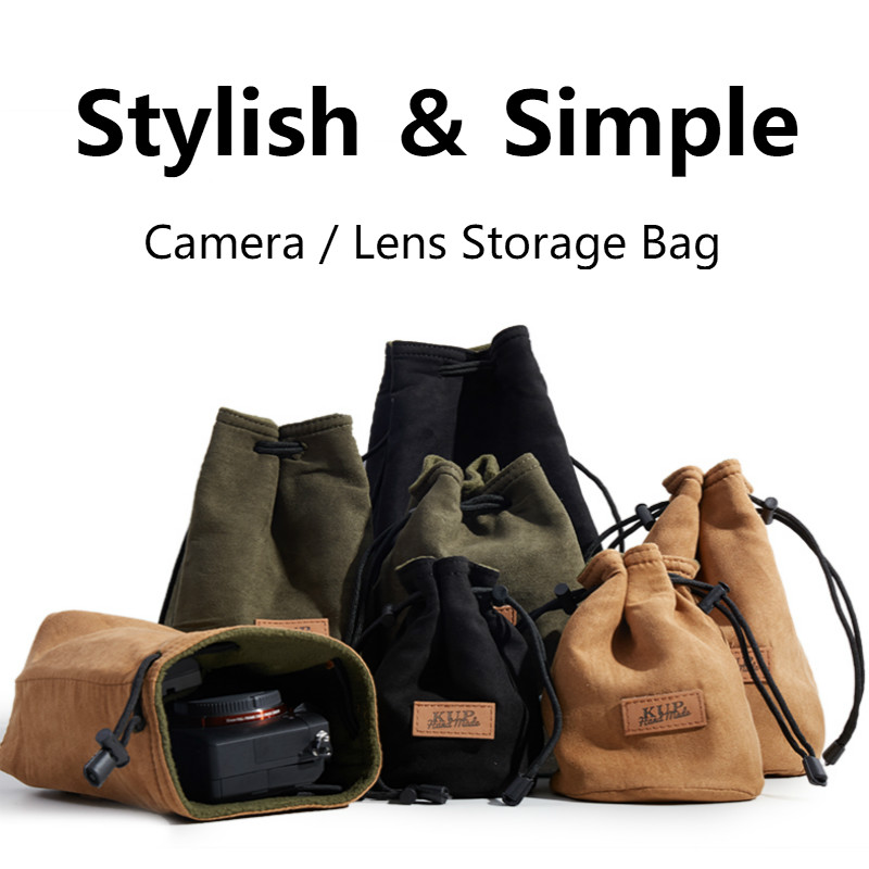 Portable DSLR Camera Bag Canon Universal Drawstring Bags Hand Held Waterproof Canvas Lens Bag for Nikon Sony Pentax Camera Case image