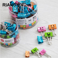 40pcs/lot 19mm Smill Face Design Paper clips para papel Purse Dovetail Paperclips Metal binder clips School paper clip 02619(China)