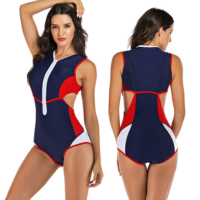 Zippered Front Sports One Piece Swimsuit 3