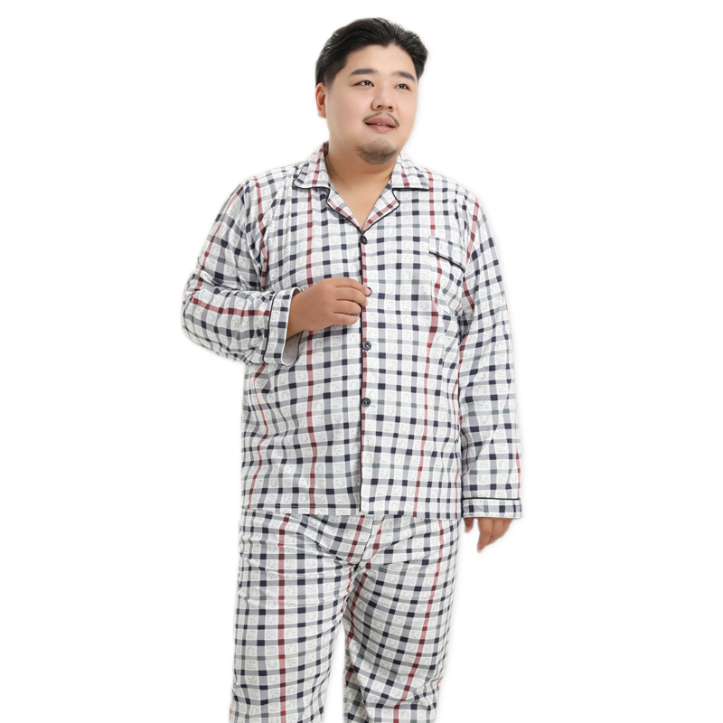 Plus Size 130kg 5XL Knit Cotton Pajama Sets Mens 2020 Spring New Sleepwear Simple Plaid Pyjamas Casual Night Wear For Men