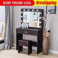 Commode chambre meubles vanité ensemble avec lumières miroir rembourré tabouret Dressing maquillage Table Tocador De Maquillaje Mueble