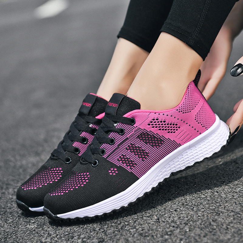 2020 New Sneakers Women Shoes Flats Fashion Casual Ladies Shoes Woman Lace-Up Mesh Breathable Female Sneakers Zapatillas Mujer 4