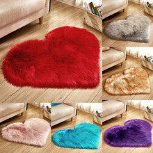 Wool Imitation Sheepskin Rugs Faux Fur Non Slip Bedroom Shaggy Carpet Mats Love imitation wool carpet
