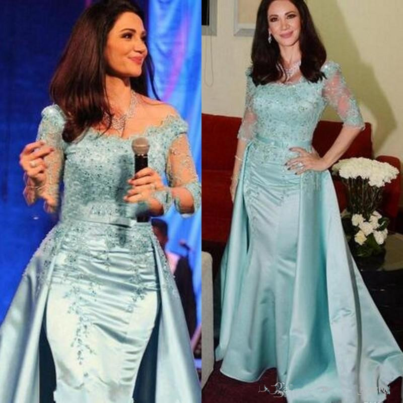 Light Blue Mother Of The Bride Dresses 2019 Illusion Sleeves Beaded Sequins Lace Appliqued Mermaid Formal Gown Detachable Train