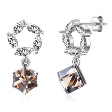 High-end crystal S925 Sterling Silver Stud Earrings Geometric Square Round Charm Fashion OL Essential Boutique Jewelry
