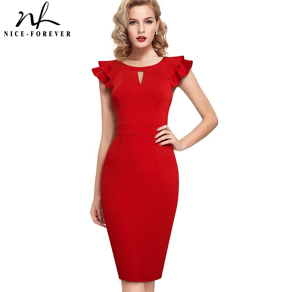 Nice forever Summer Women Fashion Ruffle Sleeve Dresses Work Business Party