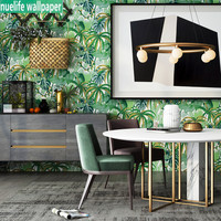 South Asia style wallpaper green plant bedroom living room porch TV background restaurant kids room American non woven wallpaper