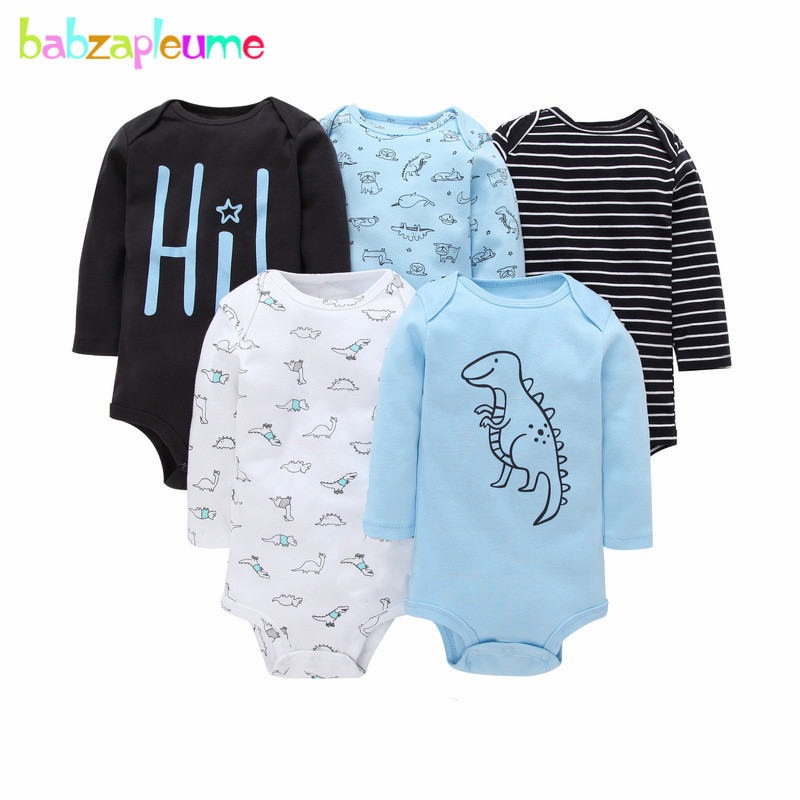 5Piece/Spring Summer Newborn Clothing Sets Baby Bodysuits Cartoon Cute Girls Outfit Cotton Long Sleeve Infant Boy Clothes BC1241