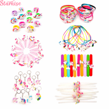 Staraise Unicorn Party Favors Rubber Bangle Bracelet Glowing Keychain Necklace Birthday Supplies