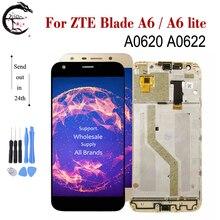 LCD ile çerçeve için çerçeve ile ZTE Blade A6/A6 lite A0620 A0622 tam LCD ekran dokunmatik ekran digitizer sensörü meclisi A6 A6lite ekran