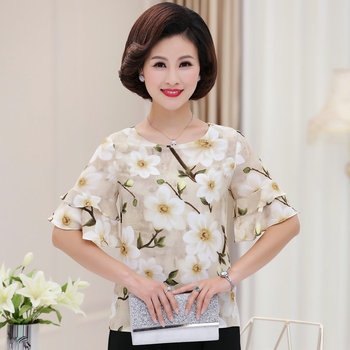 Red Yellow Flower Chiffon Blouses Women Ruffle Layered Short Sleeve Round Collar Tops Female Summer Casual Blouse Chinese Style