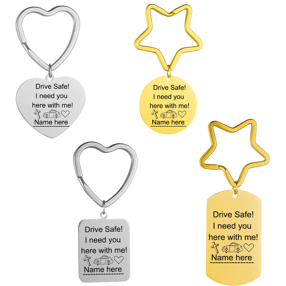 Customized Personality Key Chain Engraved Name Drive Safe I need you here with me Stainless Steel Key Chain For Women Men Gift