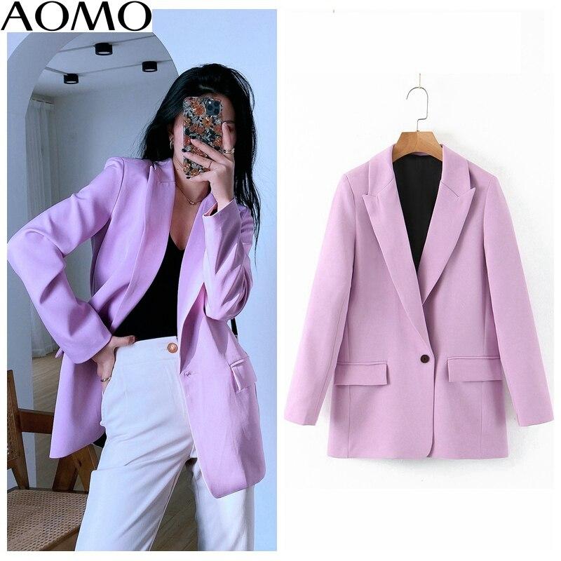 AOMO Fashion Women Spring Light Purple Blazer Female Long Sleeve Elegant Jacket Ladies High Street Blazer Suits SL218A