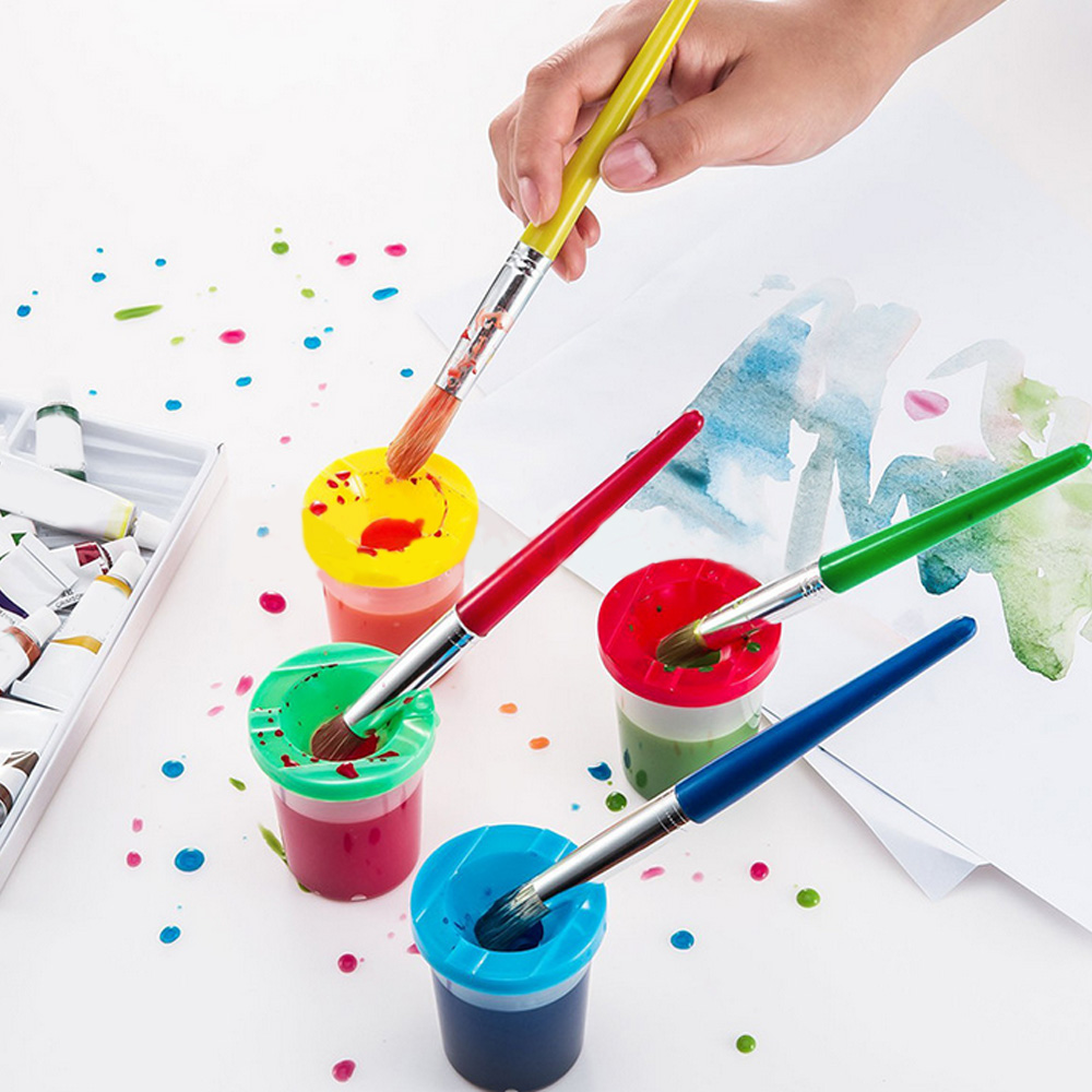 4Pcs Kids Children DIY Art Crafts Early Learning Painting Drawing Water Brushes And 4PCS Paint Wash Cups Tools Set Art Supplies