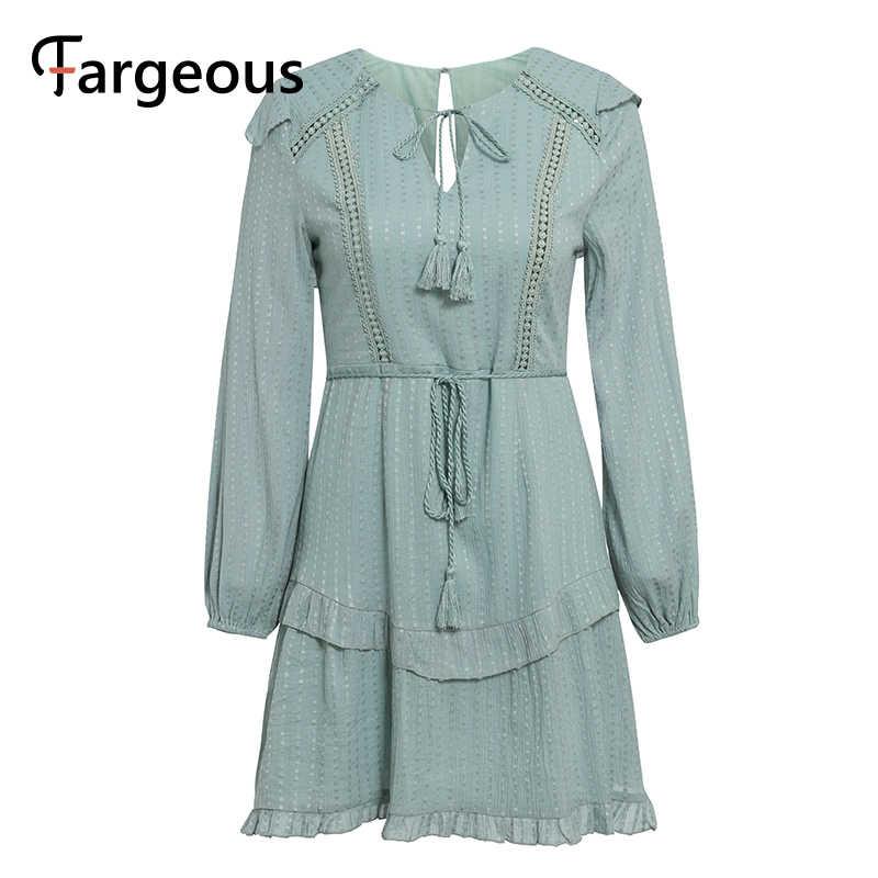 Fargeous ארוך שרוול חורף שמלת סתיו קצר נשים שמלה לפרוע חלול החוצה כחול שמלה סקסי ללא משענת לבנה תחרת מפלגה שמלה