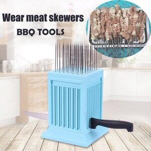 Image 2 - Meat Skewer Maker Wear Meat String Machine 49 Holes BBQ meat skewer tools tofu Skewer Machine Grill Barbecue Kitchen Accessories
