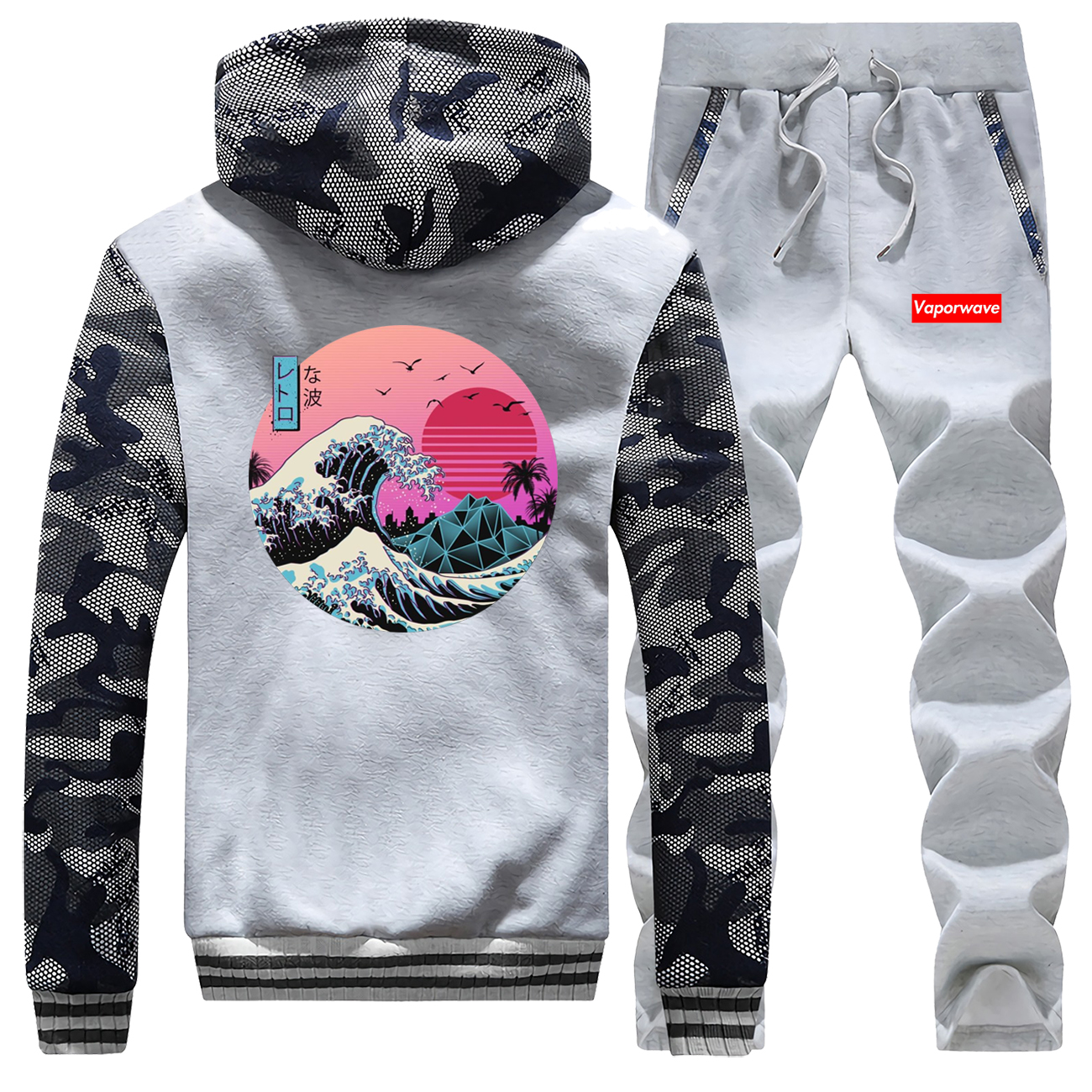 Japanese Style Fashion Male Set Vintage Vaporwave Men Camo Hoodies 2019 Winter Thick Jacket Harajuku Men's Sets Fleece Gym Suit