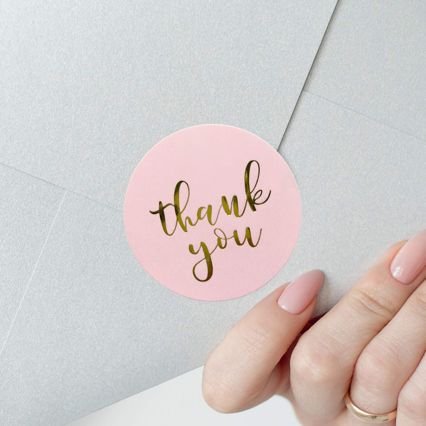Купить с кэшбэком Thank You Stickers with Gold Foil Pink Stickers for Company Giveaway Birthday Party Favors Mailing Supplies for Boutique Bags